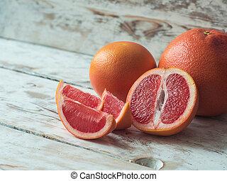 schijfen, houten, op, grapefruit, afsluiten, tafel