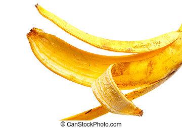 schil, op, achtergrond, afsluiten, witte , banaan