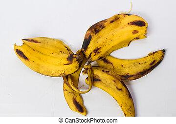 schil, vrijstaand, gele, op, achtergrond, afsluiten, witte , banaan
