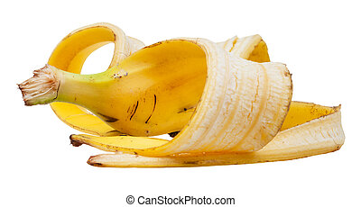 schil, vrijstaand, gele, op einde, witte , banaan