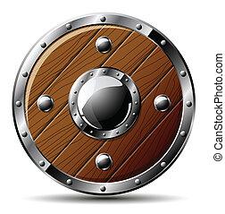 schild, houten, -, vrijstaand, witte , ronde