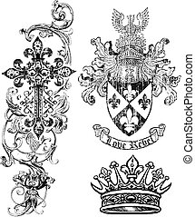 schild, royalty, kroon, kruis, element