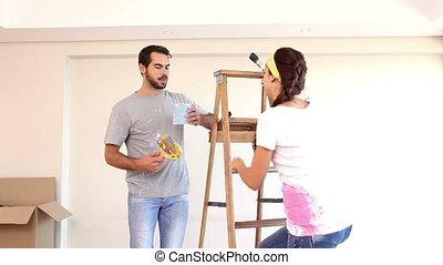 schilderij, aantrekkelijk, paar