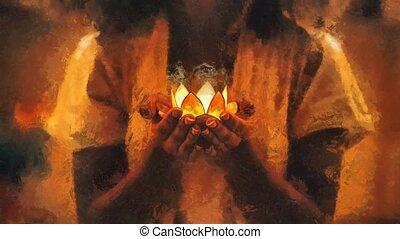 schilderij, lotus, effect., houder, hands., het leggen, vrouw, kaarsje