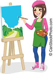 schilderij, park, kunstenaar