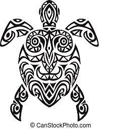 schildpad, ontwerp, tatto