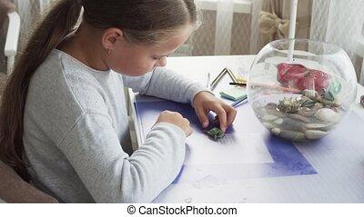 schildpad, weinig; niet zo(veel), huiselijk, tafel, thuis, meisje, spelend