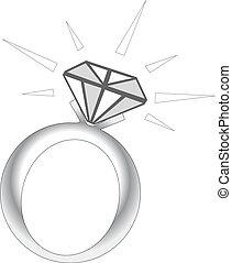 schittering, ring, diamant