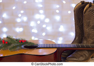schoentjes, cowboy, land, gitaar, muziek, achtergrond, kerstmis