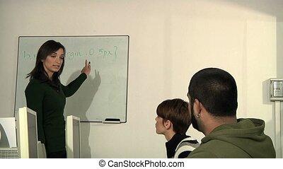 scholieren, de leraar van de school