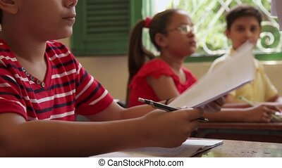 scholieren, test, school, opleiding, stand