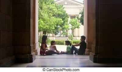 scholieren, vrolijke , groep, universiteit