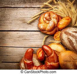 schoof, bakkerij, hout, achtergrond, op, brood