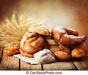 schoof, gevarieerd, houten, bakkerij, tafel., brood