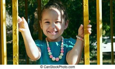 school., 4k., klappende handen, hebben, opleiding, baby, lachen, kindergarten., plezier, kinderen, kind, meisje
