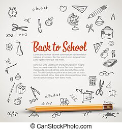school, -, back, flyer, spandoek, of