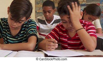 school, bedrog, scholieren, studerend , test, gedurende, vrienden