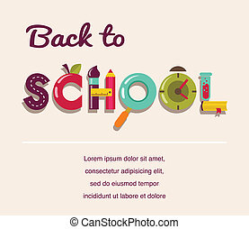 school, concept, tekst, -, back, icons., vector, achtergrond