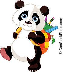 school, gaan, schattig, panda