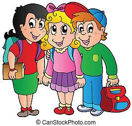 school geitjes, drie, vrolijke