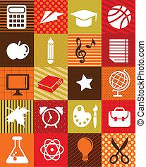 school, iconen, -, back, achtergrond, opleiding