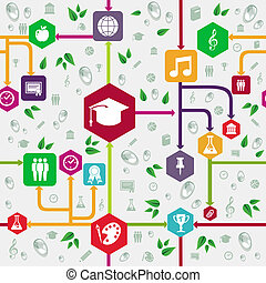 school, iconen, pattern., back, seamless, opleiding