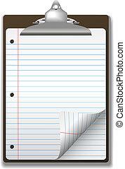 school, klembord, notitieboekje papier, hoek, krul, pagina, gelinieerd