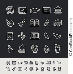 &, school, opleiding, iconen