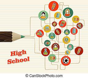 school, opleiding, pencil., back, iconen