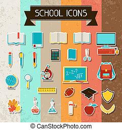 school, opleiding, set., sticker, iconen