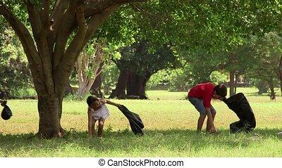 school, park, kinderen, poetsen