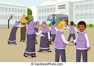 school, reces, moslim, kinderen, speelplaats, gedurende, spelend