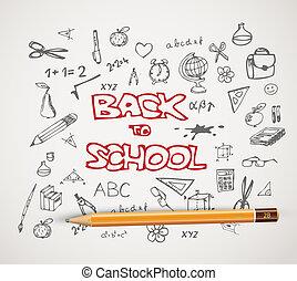 school, set, doodle, -, back, illustraties