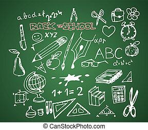 school, set, doodle, -, back, vector, illustraties