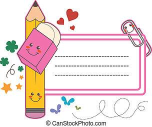 school, sticker, etiket