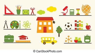school, voorwerpen, set., veelkleurig