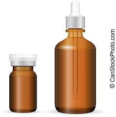 schoonheidsmiddel, fles, glas, plastic, set, geneeskunde, bruine