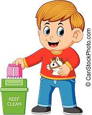 schoonmaken, trush, milieu, bewaren, jongen, vuilnis bak