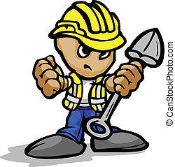 schop, beeld, arbeider, gezicht, vector, hardhat, bouwsector, vastberaden, spotprent