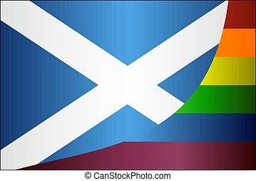 schotland, vlaggen, grunge, vrolijk