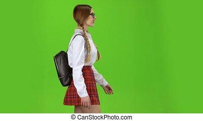 schouders., haar, schooltas, screen., groene, gaat, recht, meisje, zijaanzicht