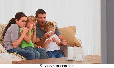 schouwend, enge movie, gezin