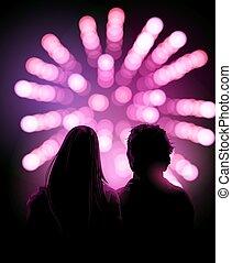 schouwend, jong paar, display, vuurwerk