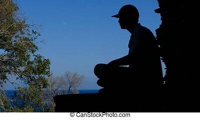 schouwend, silhouette, tiener