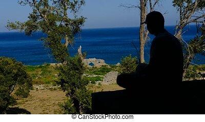 schouwend, silhouette, tiener, zee