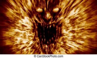 schreeuw, boos, demon, gezicht, fire.