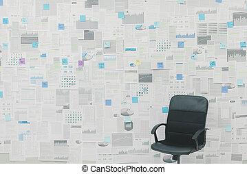 schrijfwerk, rapporten, muur, bedekt, kantoor, financieel