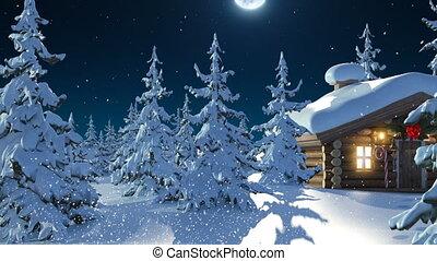 schrijvende , vol huis, animatie, hd, moon., kerstmis, vliegen, claus, kerstman, rendier, vrolijk, weg, mooi, vrolijke , tegen, 3d, nieuw, teksten, gaat, jaar, groene