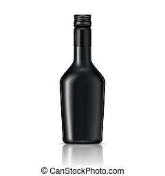 schroef, likeur, glas, cap., black , fles