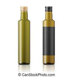 schroef, olie, fles, cap., mal, olive
